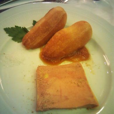 Duck foie gras with spicy melon chutney