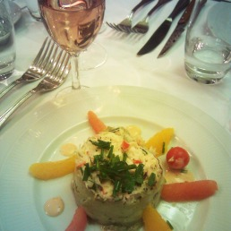 Avocado and citrus mousse with crab meat